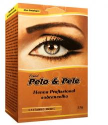 Pelo e pele henna sobrancelha- castanho médio 2,5g